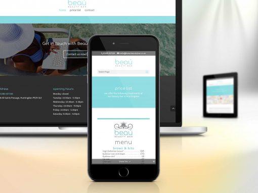 Beaú Beauty Bar website